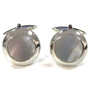 Broadstone Round Mother of Pearl Men's Cufflinks 2