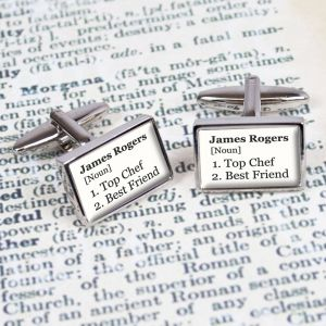 Personalised Definition Cufflinks (White)