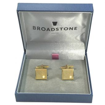 Broadstone Gold Square & Pearl Men's Cufflinks