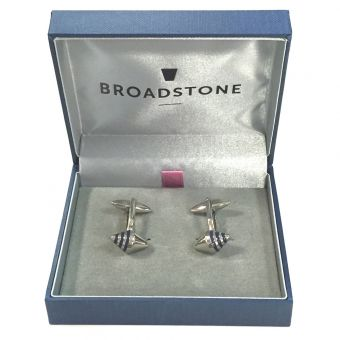 Broadstone Abstract Navy Striped Men's Cufflinks