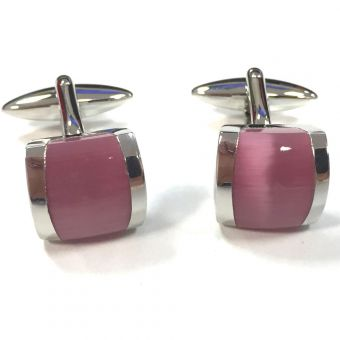 Broadstone Pink Cat Eye Men's Cufflinks 2