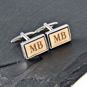 Personalised Rectangular Wooden Cufflinks