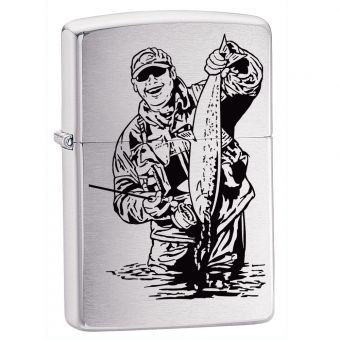 Zippo Fisherman Chrome Cigarette Lighter