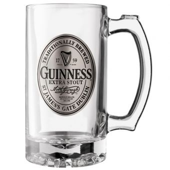 Pewter Label Glass Tankard