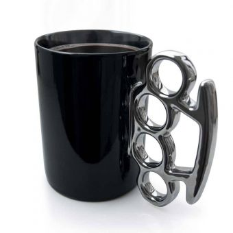 Knuckle Duster Mug in Black and Silver