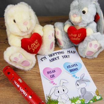 Love Bunny and Personalised Declaration of Love Scroll (Thumper Grey)