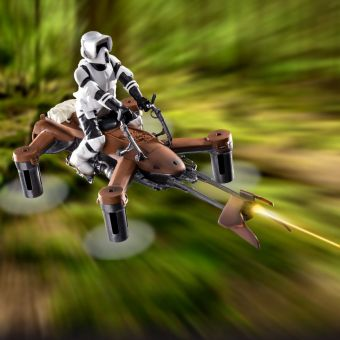 Star Wars Speeder Bike Battling Quadcopter