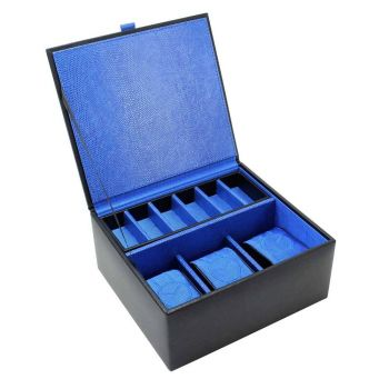 Leather Watch and Cufflink Box Blue