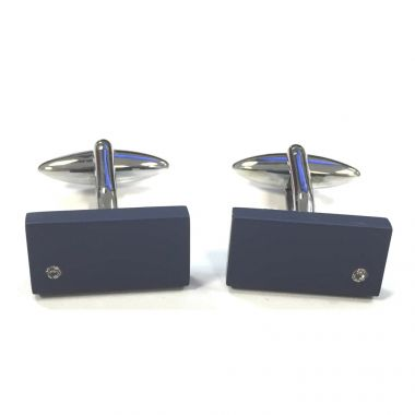 Navy Rectangle & Crystal Cufflinks