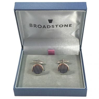 Broadstone Navy Stripe Men's Cufflinks