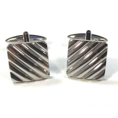 Broadstone Rhodium Ribbed Square Men's Cufflinks 2