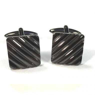 Broadstone Gunmetal Ribbed Square Men's Cufflinks 2