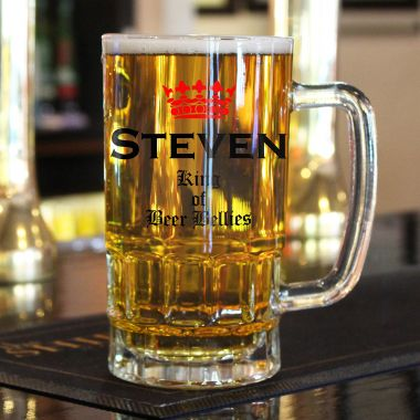 Personalised Beer Belly Glass Tankard