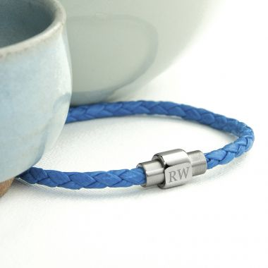 Personalised Men's Woven Leather Bracelet in Cobalt Blue