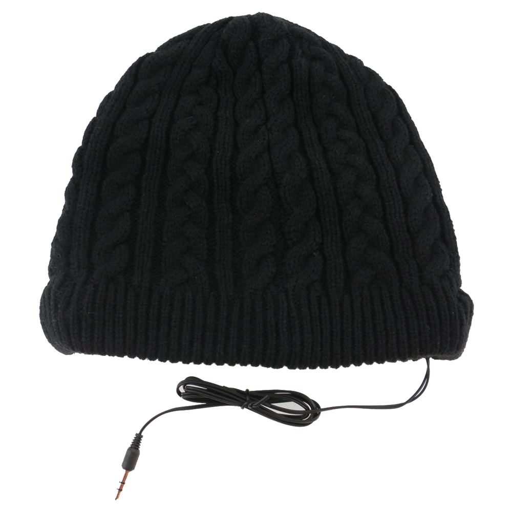 Full Cable Knitted Beanie Headphone Hat (Black)