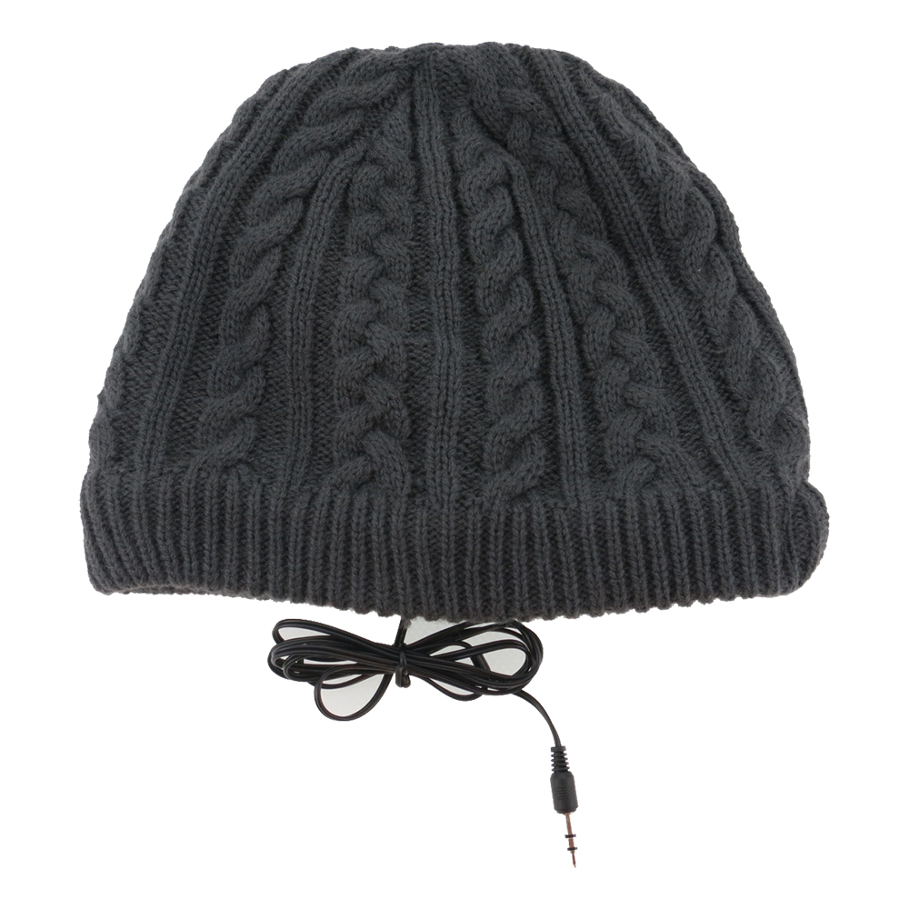 Full Cable Knitted Beanie Headphone Hat (Dark Grey)
