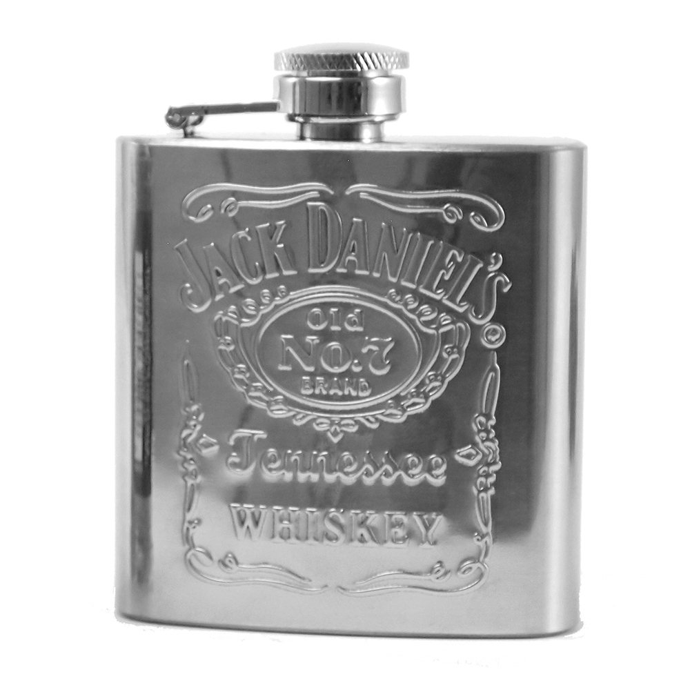 JD No. 7 Stainless Steel Hip Flask