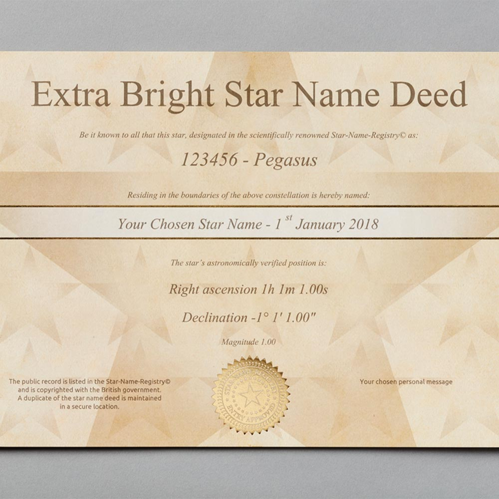 Anniversary Gifts Name a Star - Extra Bright Package