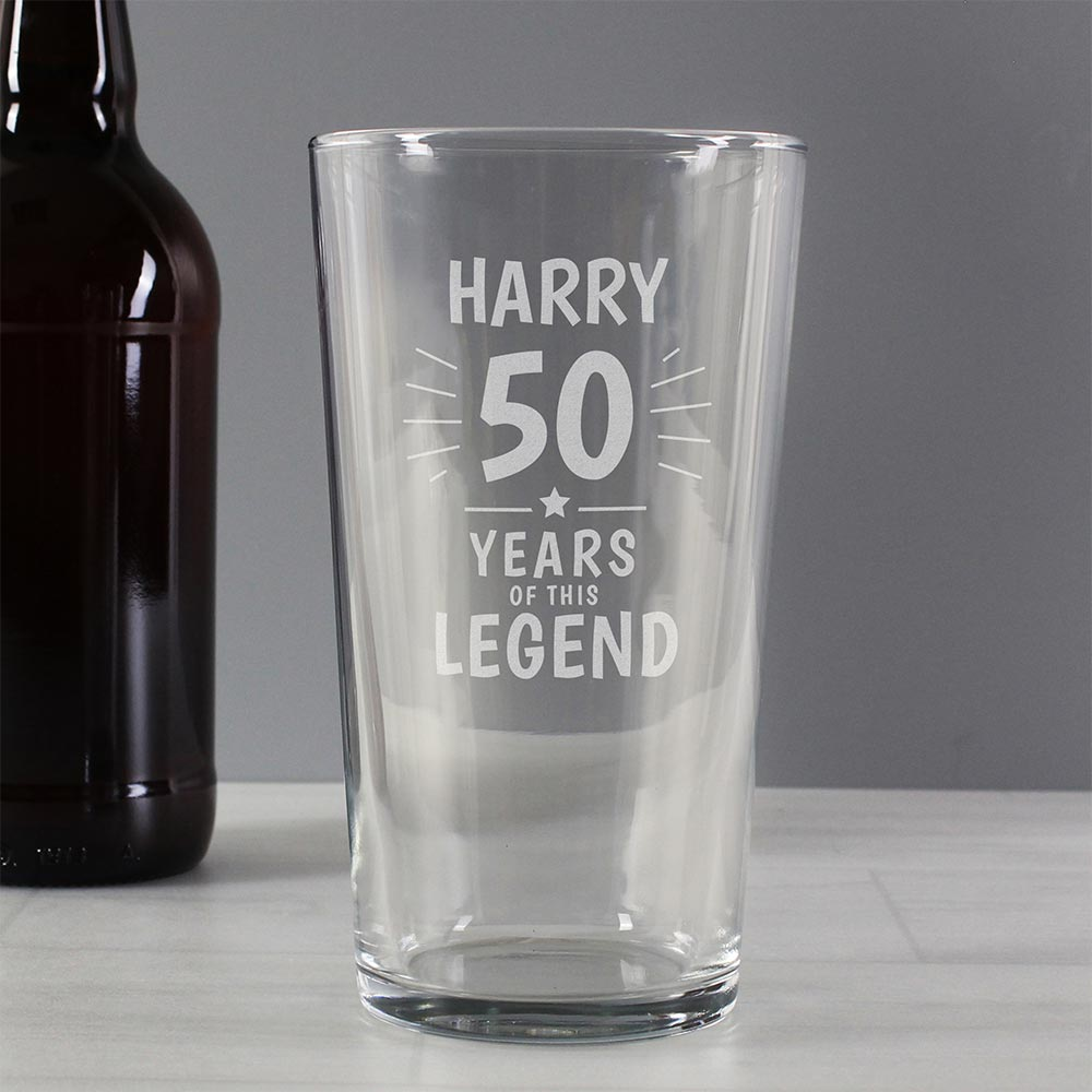 Personalised Years of the Legend Pint Glass