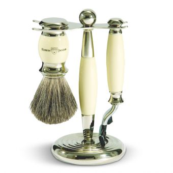 3 Piece Shaving Set Cream & Nickel