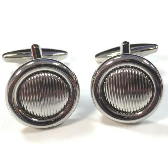 Broadstone Textured Round Men's Cufflinks 2