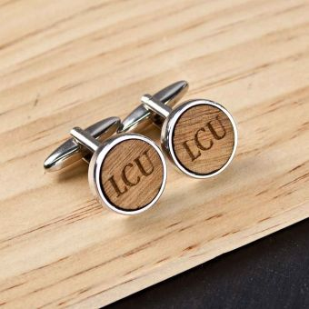 Personalised Circle Wooden Cufflinks