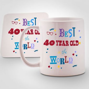 Personalised Best 40 year old in the World Mug & Coaster