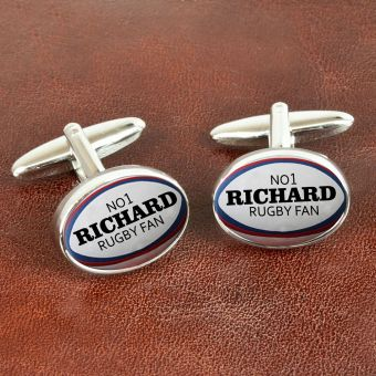 Personalised Rugby Ball Cufflinks
