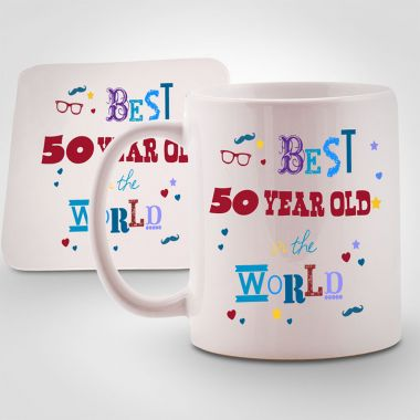 Personalised Best 50 year old in the World Mug & Coaster