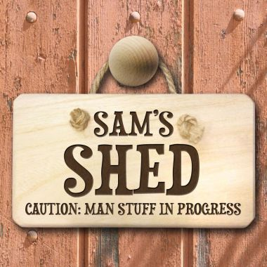 Personalised Caution Man Stuff Shed Sign