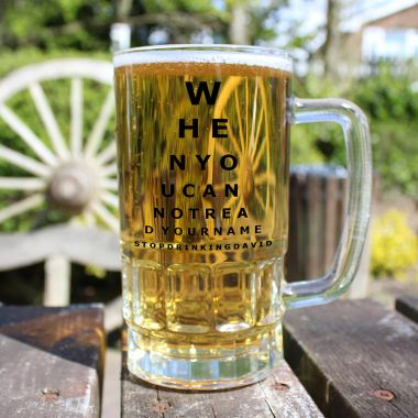 Personalised When to Stop Drinking Beer Glass Tankard