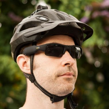SunnyCam Video Camera Sunglasses in Black helmet