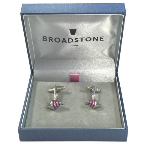 Broadstone Abstract Purple Striped Men's Cufflinks