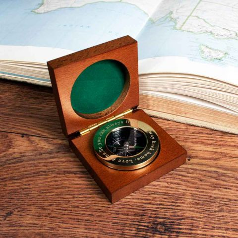 Personalised Brass Travellers Compass with Wooden Box