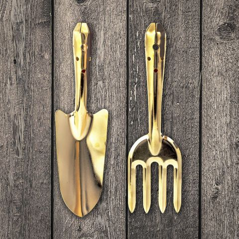 Gold Fork And Trowel