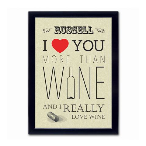 Personalised I Love You More Than Wine Poster
