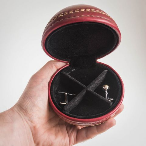 Leather Cricket Ball Cufflink Set