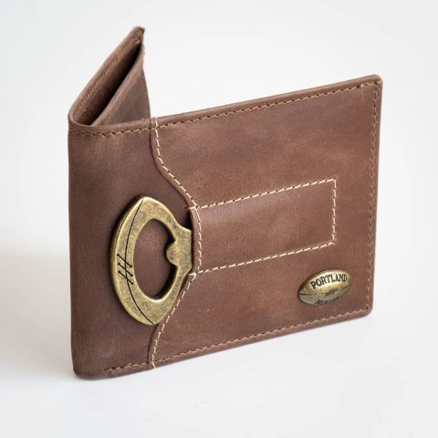 Leather Wallet with Rugby Ball Bottle Opener