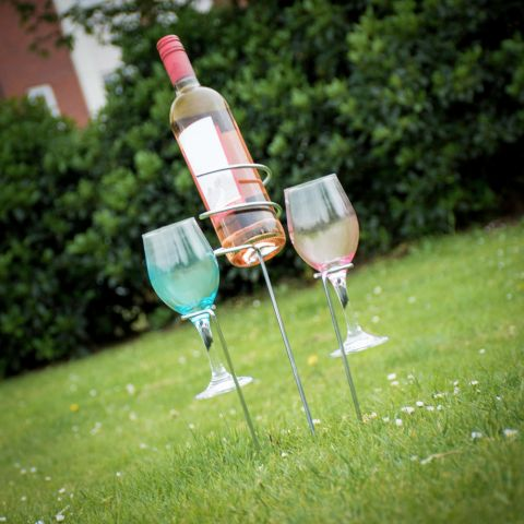 Outdoor Wine Bottle and Glass Holder