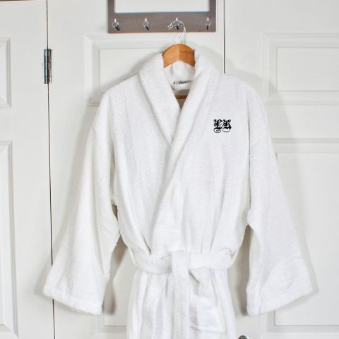 Personalised Egyptian Men's Cotton Bath Robe - Medieval Font