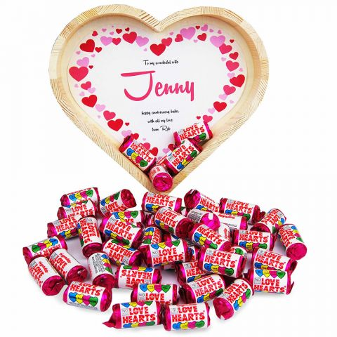 Personalised Love Hearts Heart Tray (Large)