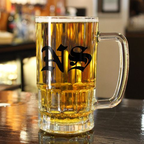 Personalised Medieval Monogram Glass Tankard