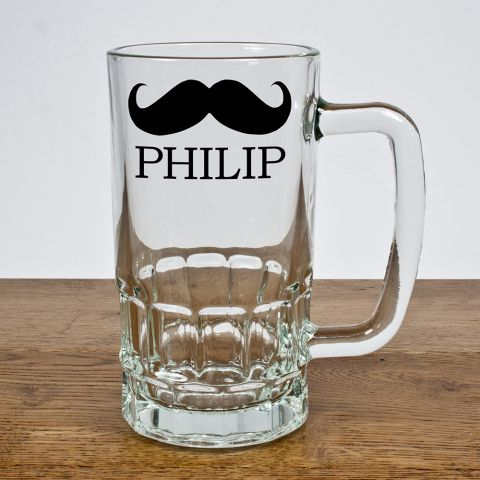 Personalised Moustache Glass Tankard