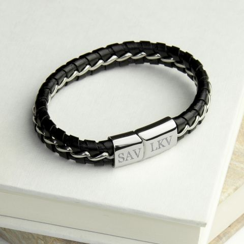 Personalised Men's Metal Detailed Leather Bracelet