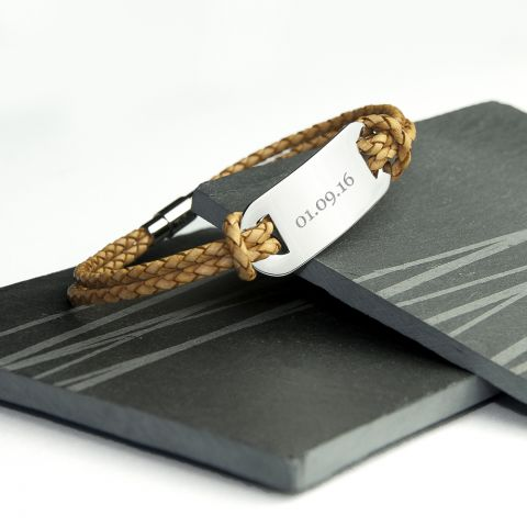 Personalised Men's Statement Leather Bracelet in Standstone