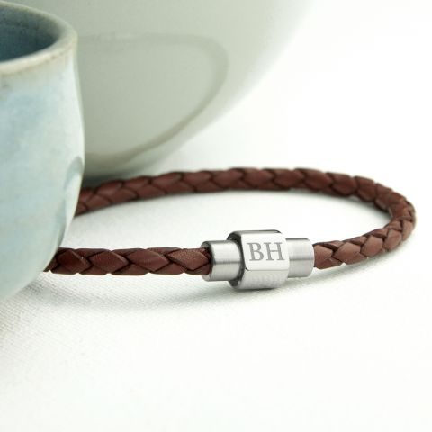 Personalised Men's Woven Leather Bracelet in Burnt Sienna