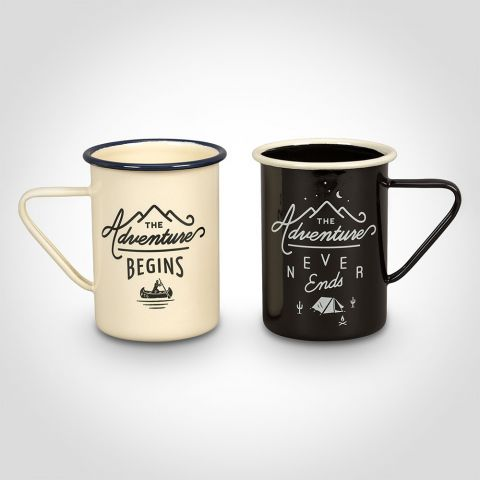 Adventure Enamel Mugs - Set of Two