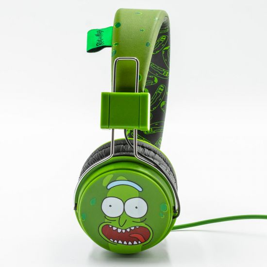 Rick and Morty Pickle Rick Stereo Headphones with Mic - Grey Background