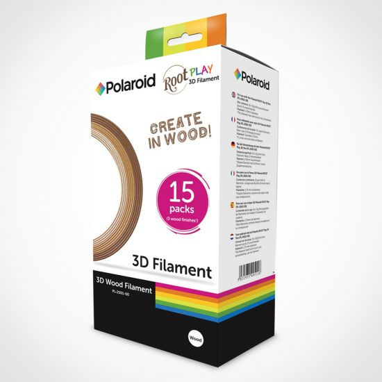 Polaroid Root Play 3D Filament – Pack of 15 on a grey background