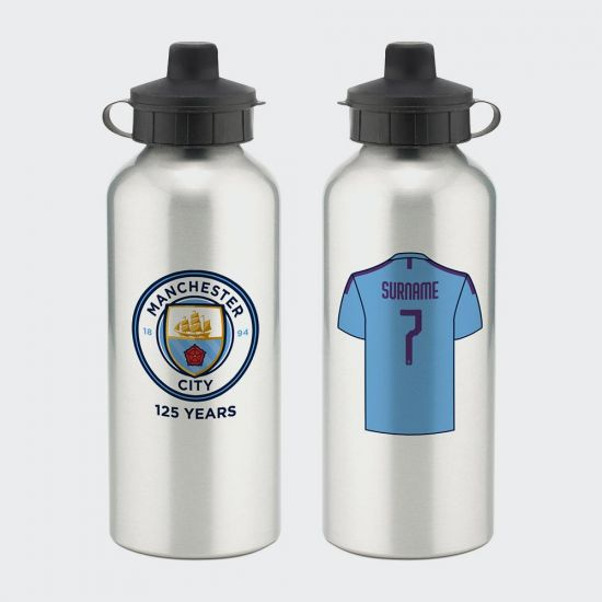 Personalised Manchester City FC Aluminium Water Bottle - Grey Background